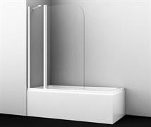 WASSERKRAFT Leine 35P02-110WHITE Fixed Стеклянная шторка на ванну, распашная, двухстворчатая, закругленная, белый профиль, ширина 110 см, стекло прозрачное 6 мм