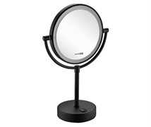 WasserKRAFT K-1005BLACK Зеркало с LED-подсветкой двухстороннее, стандартное и с 3-х кратным увеличением