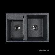 AQUATON Делия 78 Мойка для кухни двойная прямоугольная, литьевой мрамор, ширина 78 см